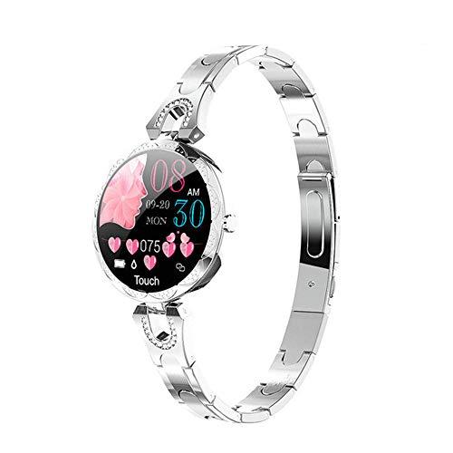 ZYD 2020 Fashion Women's Smart Watch Waterproof Wearable Device Heart Rate Monitor Sports Smart Watch for Women Ladies AK15,Silver