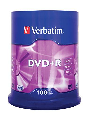 Verbatim DVD+R - 4.7 GB, 16-fache Brenngeschwindigkeit mit langer Lebensdauer und Kratzschutz, 100er Pack Spindel, mattsilber