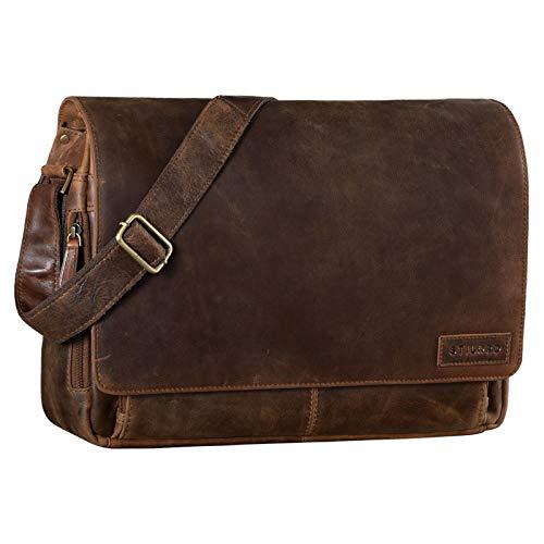 STILORD 'Rick' Bolso de Mensajero o Bandolera de Piel Vintage Bolsa de portátil de 15.6' para Universidad Negocios o Profesor Maletín marrón de auténtico Cuero, Color:Kansas - marrón