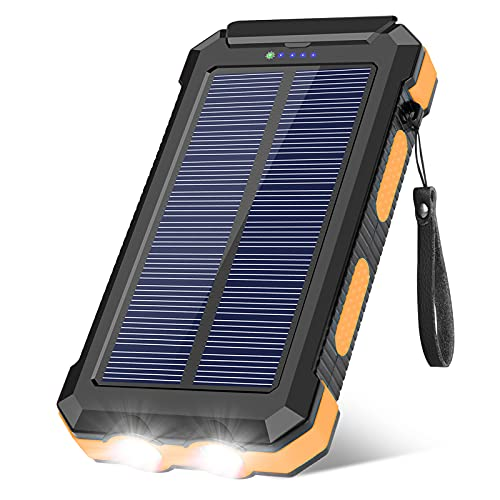 Solar Charger 30000mAh, Portable Solar Power Bank External USB Battery Pack with LED Flashlight, Waterproof Solar Phone Charger for Outdoor Camping Travel, Compatible with Cell Phones and Tablet