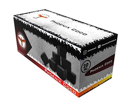 Phoenix Coal Premium Kokosnuss Coco Naturkohle Shishakohle Coal Briketts für Wasserpfeife & Grill - Geschmacksneutral, geruchslos, Lange Brenndauer, geringer Ascheanteil (20 kg)