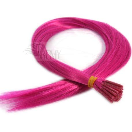 RemyHaar.eu - Bunte Strähnen Color Farbige Strähnchen I-Tip 0,4g Farbeffekte Haarverlängerung Kunsthaar - Pink Color, 10 Strähnen