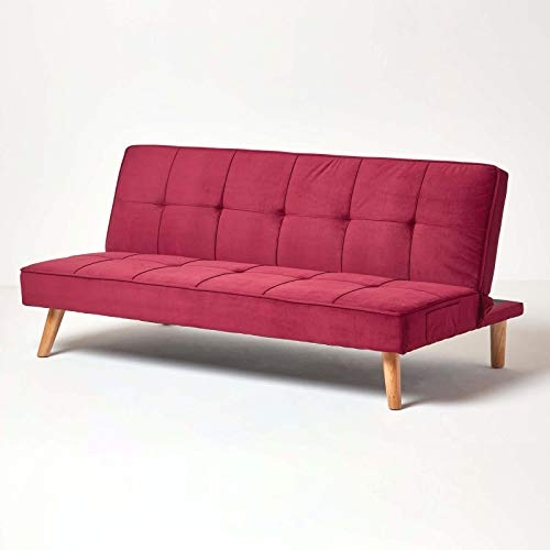 HOMESCAPES Velvet Sofa Bed Dark Red 3 Seater Sofa Click Clack Bed Sleeper Retro Range 'Bower' Bed Settee on Wooden Legs for Study Guest and Living Room
