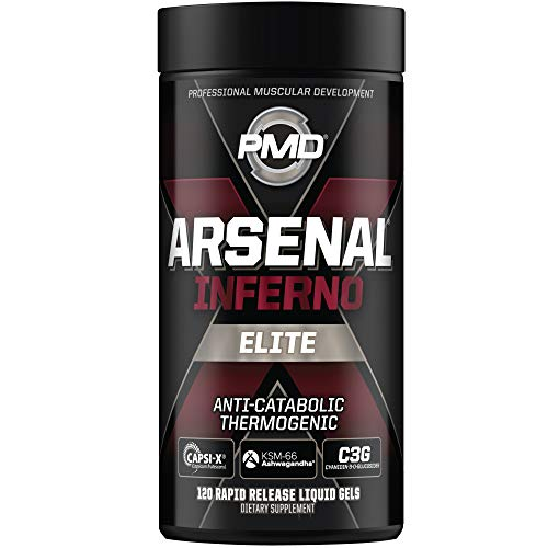 PMD Sports Arsenal X Inferno Superior Fast-Acting Liquid Gel Thermogenic Dietary Supplement - Fat Burner and Muscle Maintenance - Increase Metabolism and Energy Booster - 120 Liquid Gels