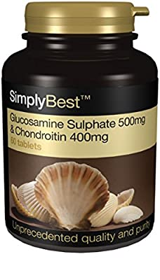 Glucosamine 500mg with Chondroitin 400mg | Grade A Marine Chondroitin Sulphate (90% purity) | 60 Capsules | 100% money back guarantee | Manufactured in the UK by Simply Supplements
