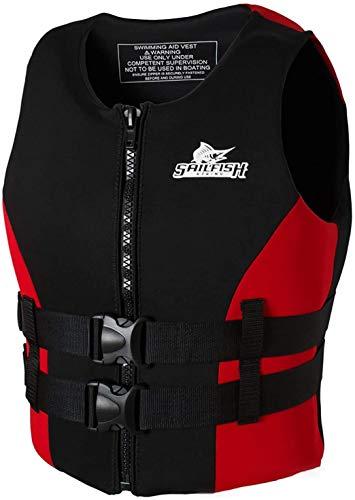 Chaleco Salvavidas, Chaleco Flotante, Ayuda de flotabilidad para Snorkel, Kayak, navegación, Pesca, Bote motora para Mujeres Adultas, Hombres, 48-110kg,Rojo,XL