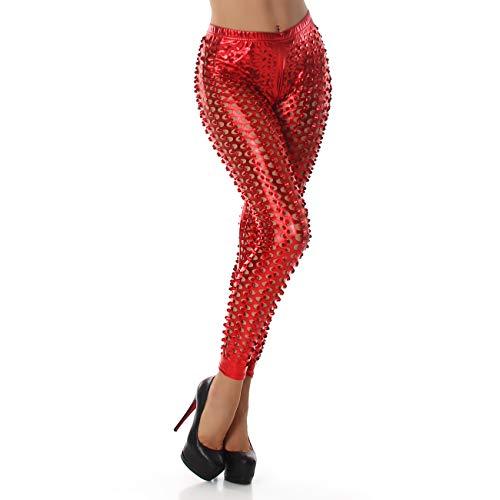 Berry Belle Leggings dames SPACE glamour glans stretch met gaten in vele kleuren S-L