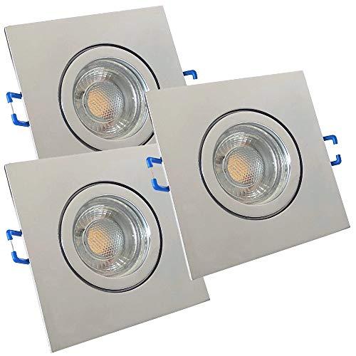 LED Bad Einbaustrahler 230V inkl. 3 x 3W LED LM Farbe Chrom IP44 LED Einbauleuchten Aqua Eckig 3000K Deckenspots