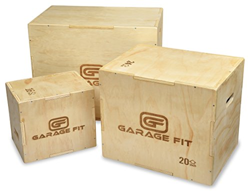 Garage Fit Wood Plyo Box - 24/20/16-3 in 1 Plyo Box Plyo-Box, Plyometric Box, Plyometric Jump Box,...