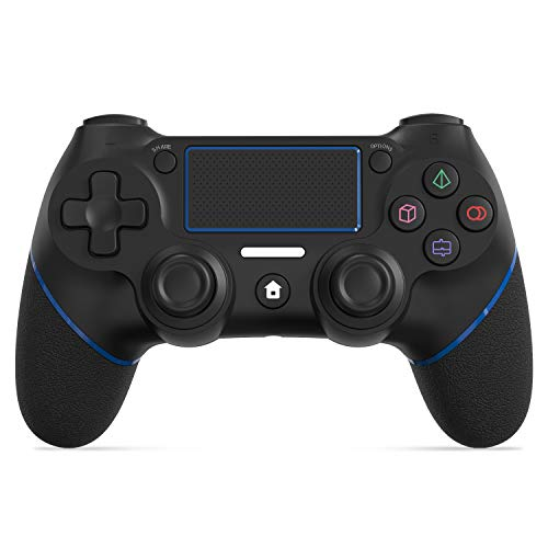JOYSKY Wireless Controller für PS4,Bluetooth Gamepad mit Dual-Vibration Rechargable Remote sechsachsigem Dual Vibration Shock und Audio-Buchse Controller (Blau)
