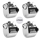 INTVN Hand Tally Counter Clicker Golf Manual Counter Lap Counter 4 Digit Chrome Palm for Sportt/School/Train/Club, 4 Pack