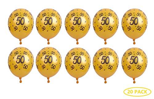 Fontee® 20 Piezas 12 Pulgadas Látex 50 Cumpleaños Globos Dorados, 50 Numero Cumpleaños Globos, 50 Aniversario Bodas Oro Decoracion