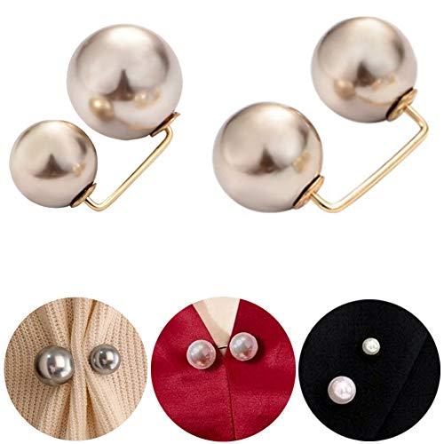 MEISHU 6 Pezzi Spilla di Perle di Moda Spilla di Perle di Moda - Spilla di Sicurezza antiriflesso con Risvolto da Donna