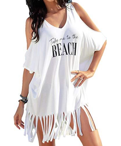 L-Peach Damen Pareo Bikini Cover Up Sommer Nackte Schulter Quaste Lose Baumwolle Tunika Überwurf Strandkleid Sommerkleid One Size