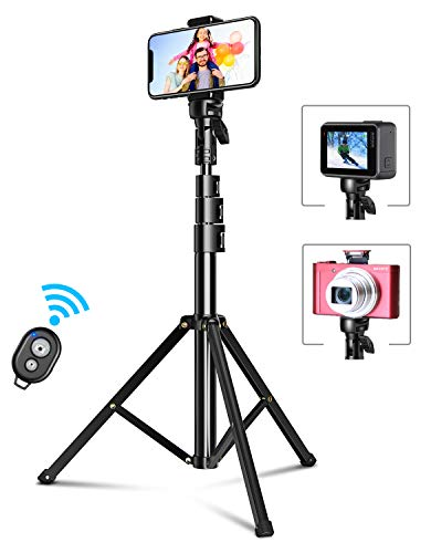 """Bcway Phone Tripod, 51"""" Extendable Selfie Stick Tripod Bluetooth, All-in-One Travel Tripod with Remote, Compatible with iPhone 11 Pro Max/11 Pro/11/XS/XS Max/XR/X/8, Galaxy S20/S10, Camera, Gopro"""