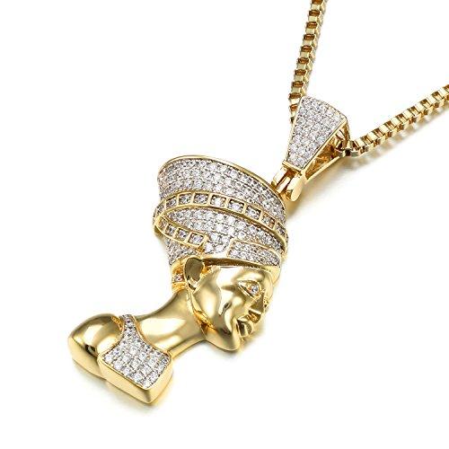 VANAXIN Nefertiti Egyptian Queen Pendant Necklace Gold Plated Punk Jewelry Women Men Necklaces 24''