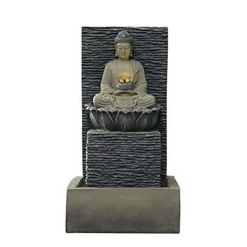 A Fuente De Buda,Cascada con Luz Led,Zen Adorno De Agua Decoración,Interior Aire Libre Estatua De Buda,Fortuna Regalos&Decor Gris F 24.8pulgada