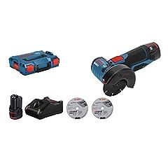 Bosch Professional 12V System Battery Angle Grinder GWS 12V-76 (3 snijschijven, schijfdiameter: 76 mm, 2x 3.0Ah batterijen en lader, in karton)*