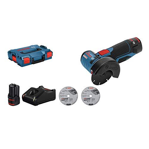 Bosch Professional 12V System Akku Winkelschleifer GWS 12V-76 (3 Trennscheiben, Scheibendurchmesser: 76 mm, inkl. 2x3.0Ah Akkus und Ladegerät, im Karton)