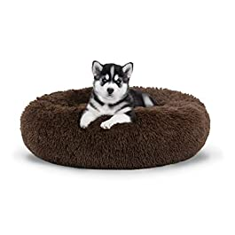 The Dog's Bed Sound Sleep Donut Dog Bed, Large Brown Plush Removable Cover Premium Calming Nest Bed
