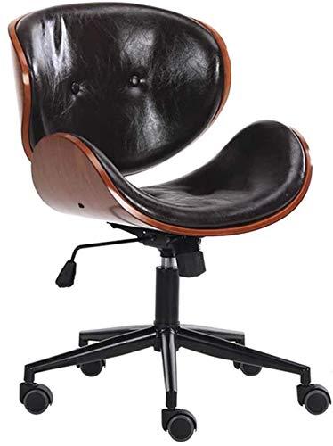 Einstellbar Easy Clean Walnut Furnier/PU-Leder Premium Home Bürostuhl Modern Designer Executive Bürostühle Schreibtischstuhl Stuhl Dicke Polsterung, Schwarz MISU (Color : Black)
