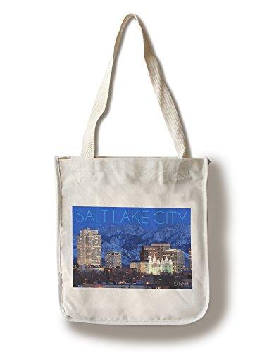 Lantern Press Salt Lake City, Utah - Wasatch Mountains and Downtown (100% Cotton Tote Bag - Reusable)
