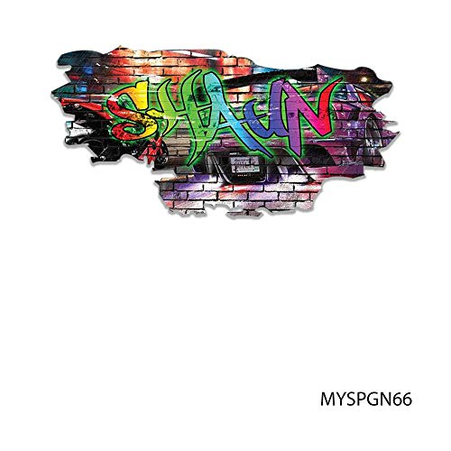 MySticky Large Graffiti Wall Decals/Stickers + Custom Text/Name - NO Border Themes + 5 Sizes - [Vinyl • Handmade/Made to Order • Printed Using Latest Technology • Room Art Decor]