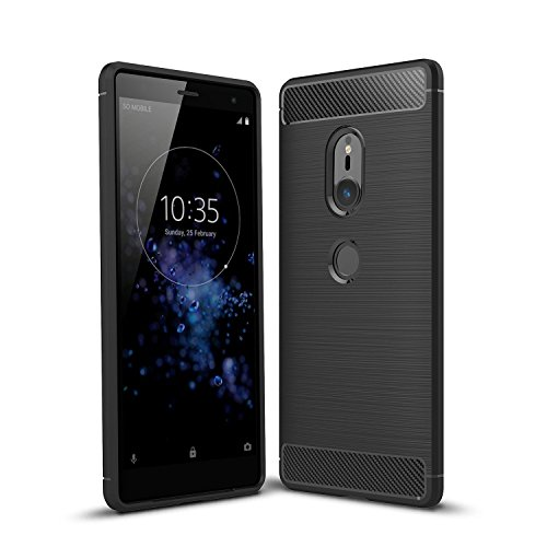 Cruzerlite Sony Xperia XZ2 hülle, Sony Xperia XZ2 Schutzhülle, Carbon Fiber Shock Absorption Slim TPU Cover Schutzhülle für Sony Xperia XZ2 (2018) (Black)