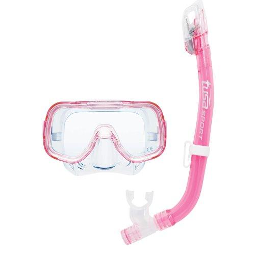 TUSA Sport Schnorchelset Mini-Kleio Dry, taucherbrille schnorchel kinder, Clear Pink, UC-2022 CLP
