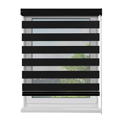 Fensterdecor Doppel-Rollo mit Aluminium-Kassette, Rollo für Fenster mit seitlichem Kettenzug, Seitenzug-Rollo mit Blende in Schwarz für Innen-Bereich, lichtdurchlässig u. verdunkelnd, 120 x 180 cm