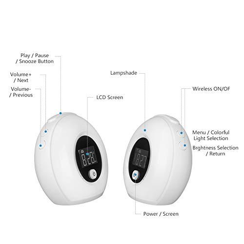 GKJRKGVF nachtlampje met Bluetooth luidspreker wekker, verstelbaar kleurrijk nachtlampje voor slaapkamer