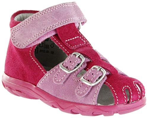 Jela Kinder Lauflerner-Sandalen pink Velourleder Mädchen Schuhe 2111Z-551-3501 Fuchsia Terrino, Farbe:pink, Größe:27 EU