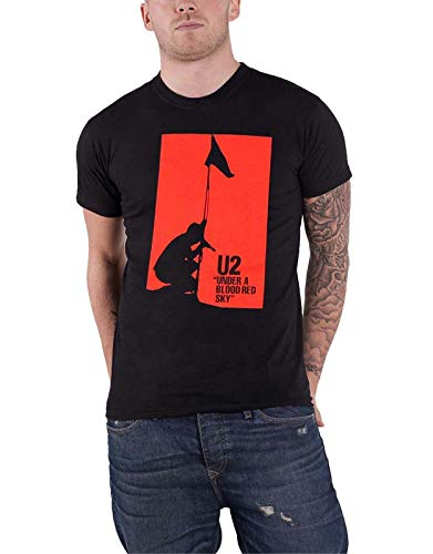NR U2 T Shirt Under A Blood Red Sky Band Logo New Mens Black