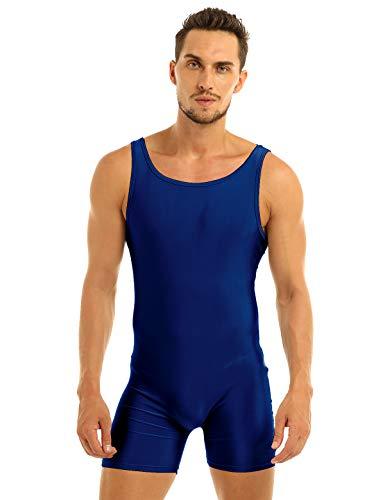 YiZYiF Mens Lycra Zipper Front Solid Gymnastics Dance Wrestling Singlet Leotard
