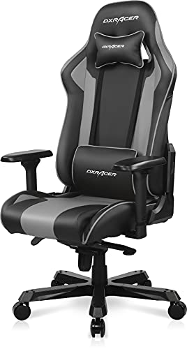 DXRacer K Series Modular Gaming Chair with Extra Wide Large Backrest, Premium Leather Racing Office Computer Seat Recliner with Ergonomic Headrest and Lumbar Support, Standard, Black & Gray (Upgraded)