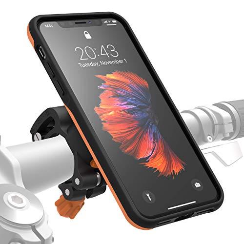 MORPHEUS LABS M4s Handyhalterung Fahrrad iPhone X /Xs Fahrradhalterung Halterung & iPhone X / Xs /10 Hülle magnetisch fürs Rad, DropTest, mit Quick Lock, Bike-Kit passend für meisten Lenker orange