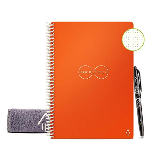 Rocketbook Smart Reusable Notebook - Dot-Grid Eco-Friendly Notebook with 1 Pilot Frixion Pen & 1 Microfiber Cloth Included - Beacon Orange Cover, Executive Size (6' x 8.8')