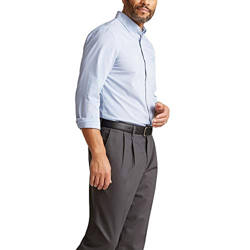 Dockers Men's Long Sleeve Button Up Perfect Shirt, Dark Delft Blue, Medium
