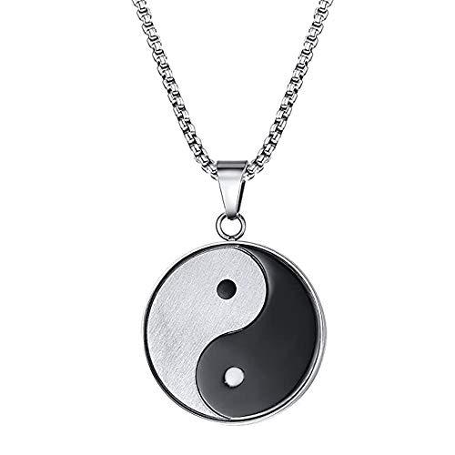 JDH Colgante de Amuleto, taoísmo Chino Yin Yang símbolo talismán Collar con Dije, con Cadena de eslabones de Acero Inoxidable de 21 Pulgadas, Unisex