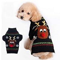IGUGHI犬 服 冬 セーター ドッグウェア ニットセーター クリスマス 可愛いトナカイ 中小型犬 秋冬服 袖あり 犬用セーター 伸縮性 暖かい 黒 ブラック XS~XL
