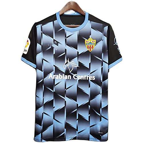 TEZAI 20-21 Equipo de fútbol Personalizado para Hombres Almería Logo Jersey de Manga Corta Adecuada para el Desgaste Diario y el Entrenamiento de fútbol Away Game-XXL