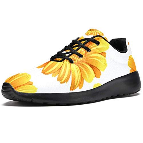 Zapatillas deportivas para correr para mujer, color amarillo, de malla, transpirables, para caminar, senderismo, tenis, color, talla 39 EU