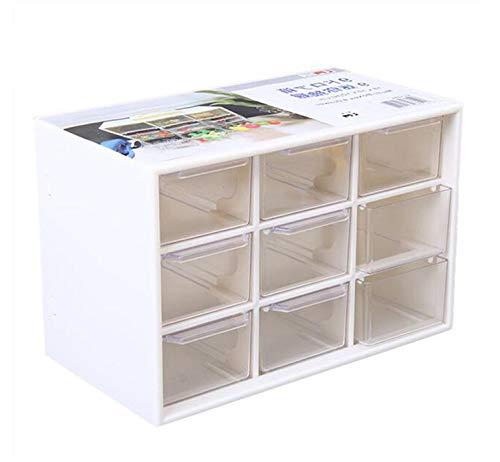 ReachTop - Organizador de escritorio para manualidades con mini 9 cajones extraíbles de acrílico para colección, manualidades, montaje en pared, color blanco