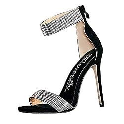 Black Stiletto High Heel Sandal With Rhinestone & Open Toe