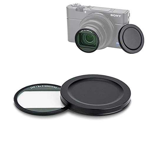 JJC Filtro UV para Sony RX100 VII VI V Canon G7X Mark III II - Filtro protector de lente ultra delgado con tapa de lente y funda protectora