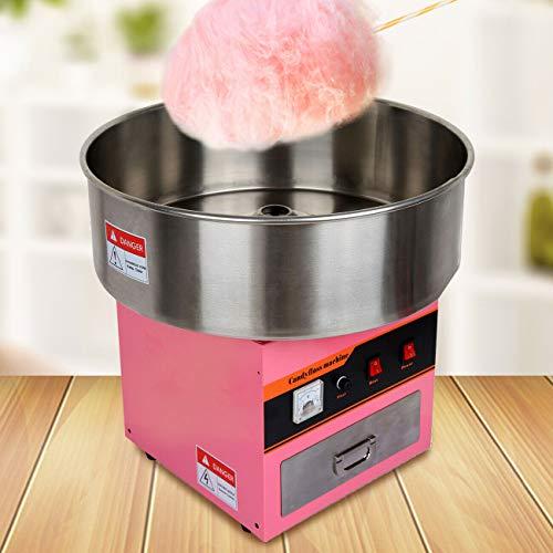 Youwise Macchina per Zucchero Filato Professionale con cassetto + Ciotola Ø52cm 1300Watt