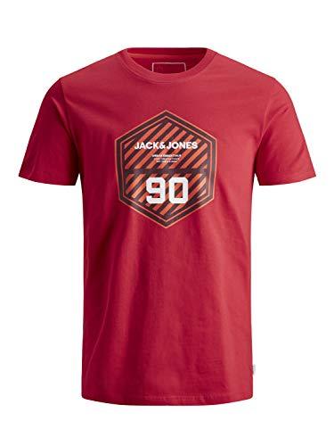 JACK & JONES Herren T-Shirt - Casual Shirt in Rundhals und Kurzarm - Logo Motiv, Größe:M, JJ T-Shirt SoPo:MOD19 Rot