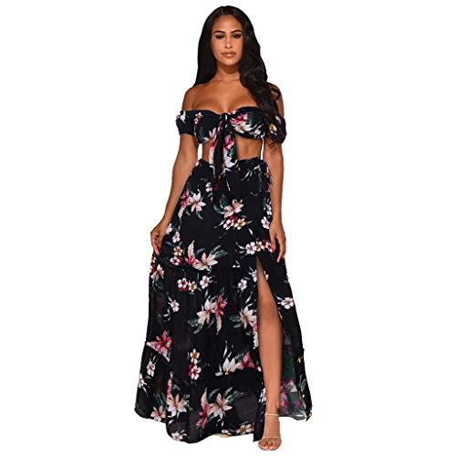 Electri Kleid, zweiteilig, Strandkleid, Sommer, Damen, sexy, schulterfrei, Blumenprint, kurze Ärmel, große Größe, Maxikleid s Schwarz