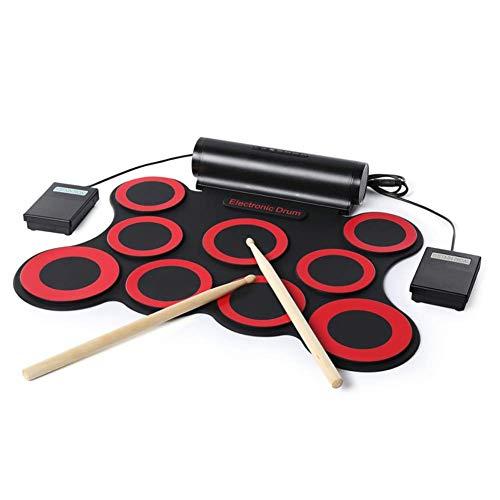 Z-ZH Elektronisches Schlagzeug mit 7 beschrifteten Pads und 2 Fußpedalen, klappbare Handrolle, elektronisches Schlagzeug, Musikinstrument