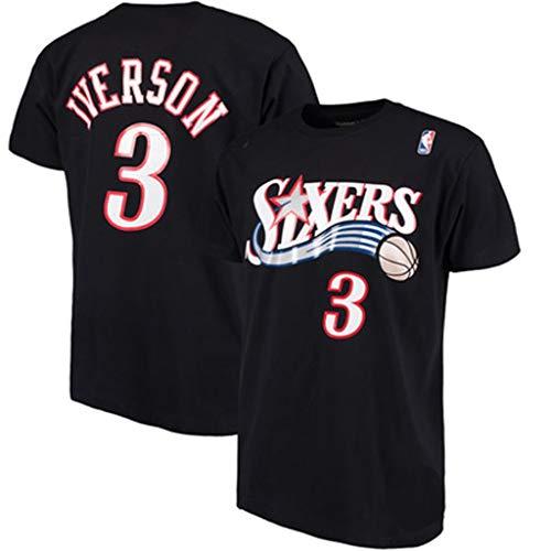 GLJJQMY Camiseta 2019 All-Star de Baloncesto de Manga Corta Iverson No. 3 Jersey, Cuello Redondo, Camiseta Deportiva y Confort Camiseta de Baloncesto (Color : Black, Size : M)